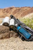 Sport equipment on mountain background — Stock Photo