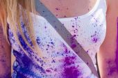 Colorful woman body in the indian festival Holi — Stock Photo