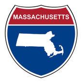 Massachusetts interstate highway shield — Stock Photo