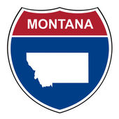 Montana interstate highway shield — Stock Photo