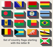 Set of country flags staring with the letter B — Stock Photo