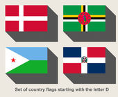 Set of country flags starting with the letter D — Stock Photo