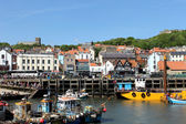Scarborough town and harbor — Stock Photo