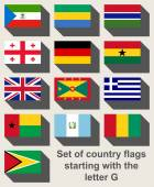 Set of flags starting with G — Stock Photo