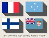 Set of flags starting with F — Stock Photo