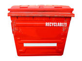 Red industrial recycling bin — Stock Photo