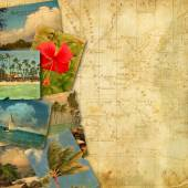 Old postcards on ancient map — Stock Photo