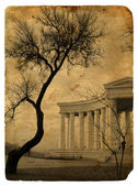 Stylization photo cityscape as a retro postcard — Stock Photo