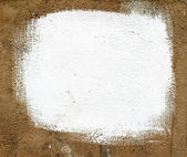 Square white paint on old plaster. — Stock Photo