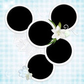 Grunge textured background with round framework and flowers. — Stock Photo