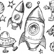 Outer Space Sketch Doodle Vector Set — Stock Vector #52671717