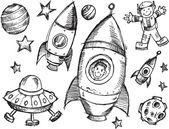 Outer Space Sketch Doodle Vector Set — Stock Vector