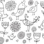 Flower Bird Doodle Vector Illustration Set — Stock Vector #52844679