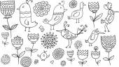 Flower Bird Doodle Vector Illustration Set — Stock Vector