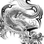 Dragon Doodle Sketch Tattoo Vector — Stock Vector #52908399