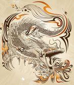 龙涂鸦素描纹身矢量 — 图库矢量图片