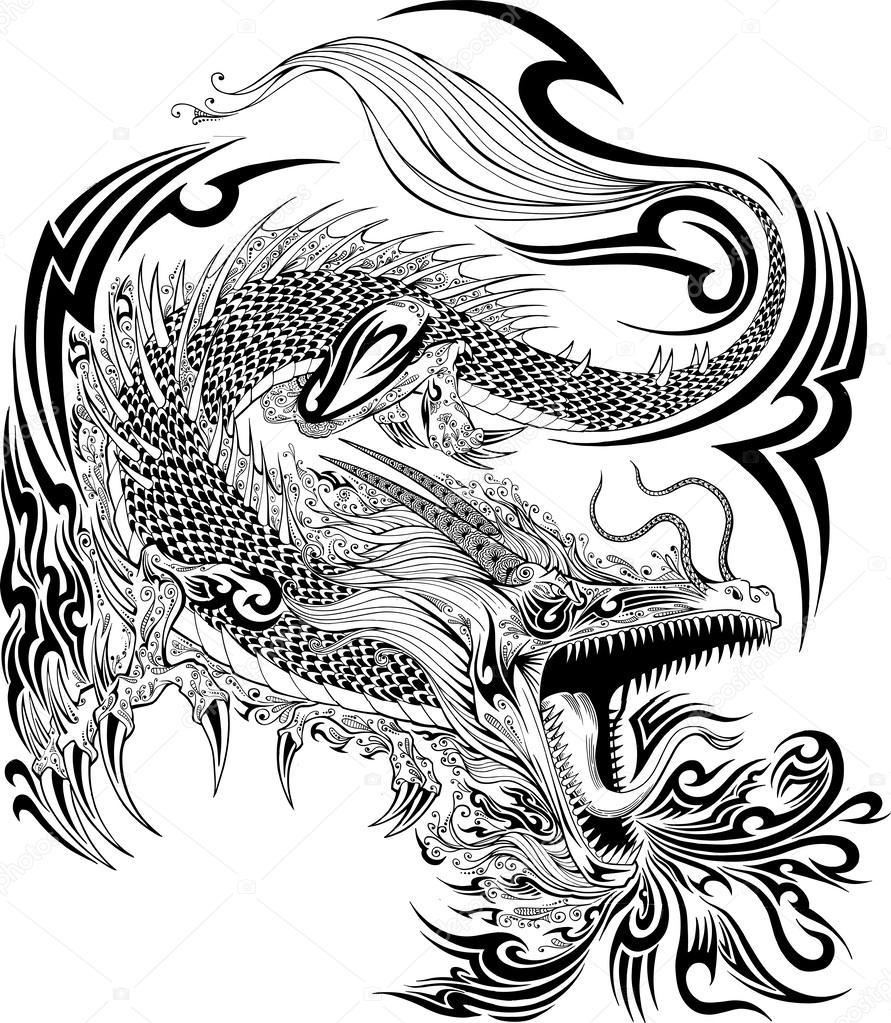 Drag o doodle desenho tatuagem vector vetor de stock for Black and white tattoo artists