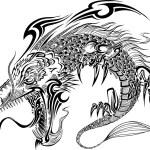 Dragon Doodle Sketch Tattoo Vector — Stock Vector #52927007