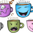 Wacky Coffee Cup Vector Set — Cтоковый вектор #53337155