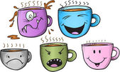 Wacky Coffee Cup Vector Set — Stock Vector