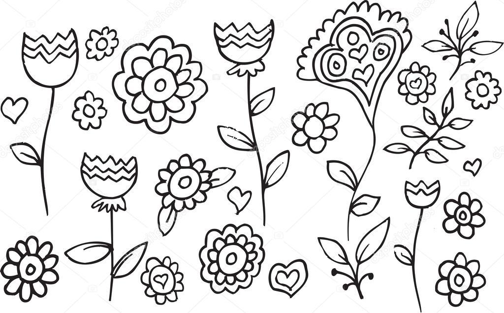 Line Drawing Flower Garden : 화원 낙서 벡터 일러스트 레이 션 아트 — 스톡 misterelements