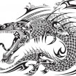 Dragon Doodle Sketch Tattoo Vector — Stock Vector #53814299