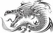 Dragon Doodle Sketch Tattoo Vector — Stock Vector