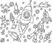 Outer Space Doodle Vector Illustration Art Set — Stockvektor