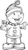 Doodle Christmas Singing Boy Vector Illustration Art — Stock Vector