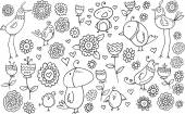 Flower Bird Doodle Vector Illustration Set — Vetorial Stock