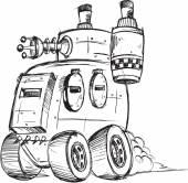 Бронированный грузовик вектор эскиз Иллюстрация искусства — Cтоковый вектор