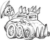 Armored Car Vector Sketch Illustration Art — Stock Vector
