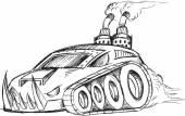 Armored Car Tank Vector Sketch Illustration Art — Stock Vector