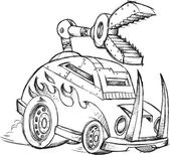 Armored Car Vehicle Sketch Vector Illustration Art — Stok Vektör