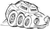 Armored War Vehicle Sketch Vector Illustration Art — Stok Vektör