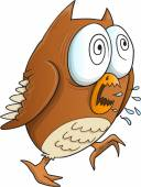 Insane Crazy Owl Vector Illustration Art — Vector de stock