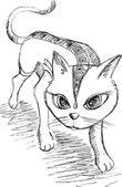 Cat Kitten Sketch Doodle Vector Illustration Art — Vector de stock