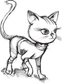 Cat Kitten Sketch Doodle Vector Illustration Art — Stockvektor