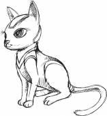 Cat Kitten Sketch Doodle Vector Illustration Art — Stock Vector