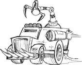 Armored Truck Vehicle Sketch Vector Illustration Art — Stockvektor