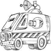 Armored Van Vehicle Sketch Vector Illustration Art — Stockvektor