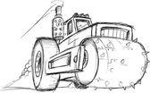 Armored Roller Vehicle Sketch Vector Illustration Art — Stockvektor