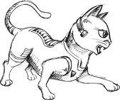 Cat Warrior Sketch Doodle Vector Illustration Art — Stock Vector