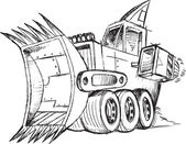 Armored Bulldozer Vehicle Sketch Vector Illustration — Stock Vector