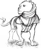 Warrior Lion Sketch Doodle Vector Illustration Art — Stock Vector