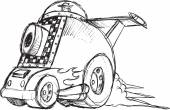 Armored Car Vehicle Sketch Vector Illustration Art — Stock Vector
