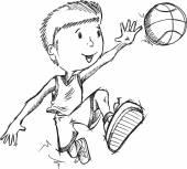 Schizzo del giocatore di pallacanestro — Vettoriale Stock