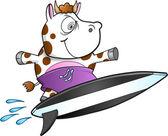 Evil Insane Surfing Cow Vector Illustration Art — Stock Vector