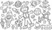 Outer Space Doodle Vector Illustration Art Set — Stock Vector