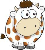 Silly Farm Cow Vector Illustration Art — Stock Vector